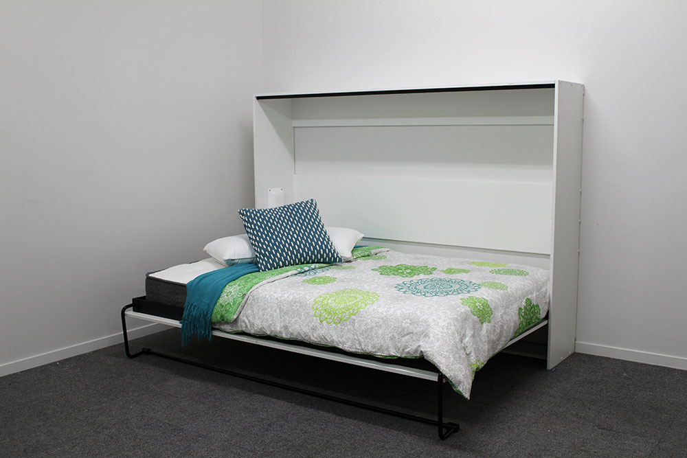 Warm White Horizontal Wall Bed Askobeds Space Saving